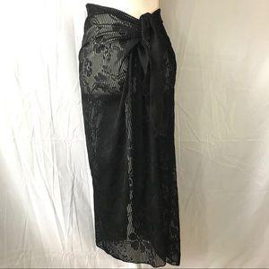 WESTBOUND Black Swimwear Coverup Sarong Skirt NWOT